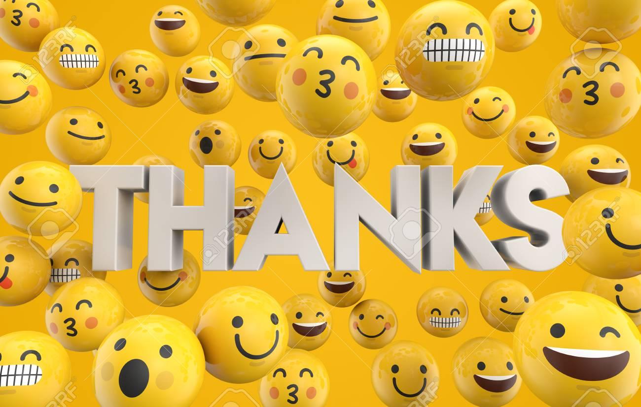 Ensemble De Personnages Emoticones Emoji Avec Le Mot Merci Rendu 3d Banque D Images Et Photos Libres De Droits Image 93223622