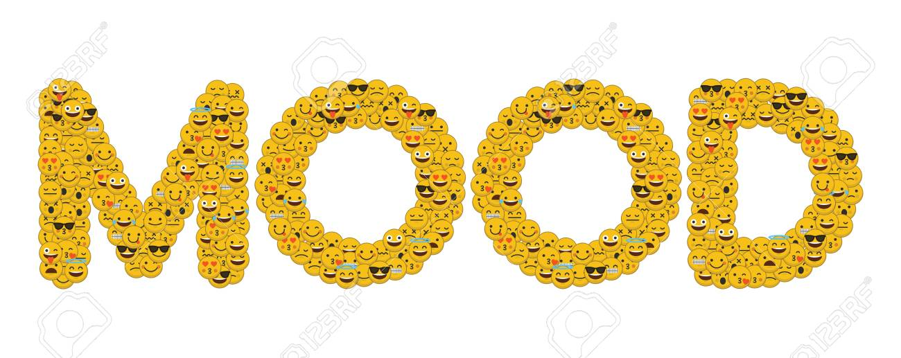 The Word Mood Written In Social Media Emoji Smiley Characters Stock