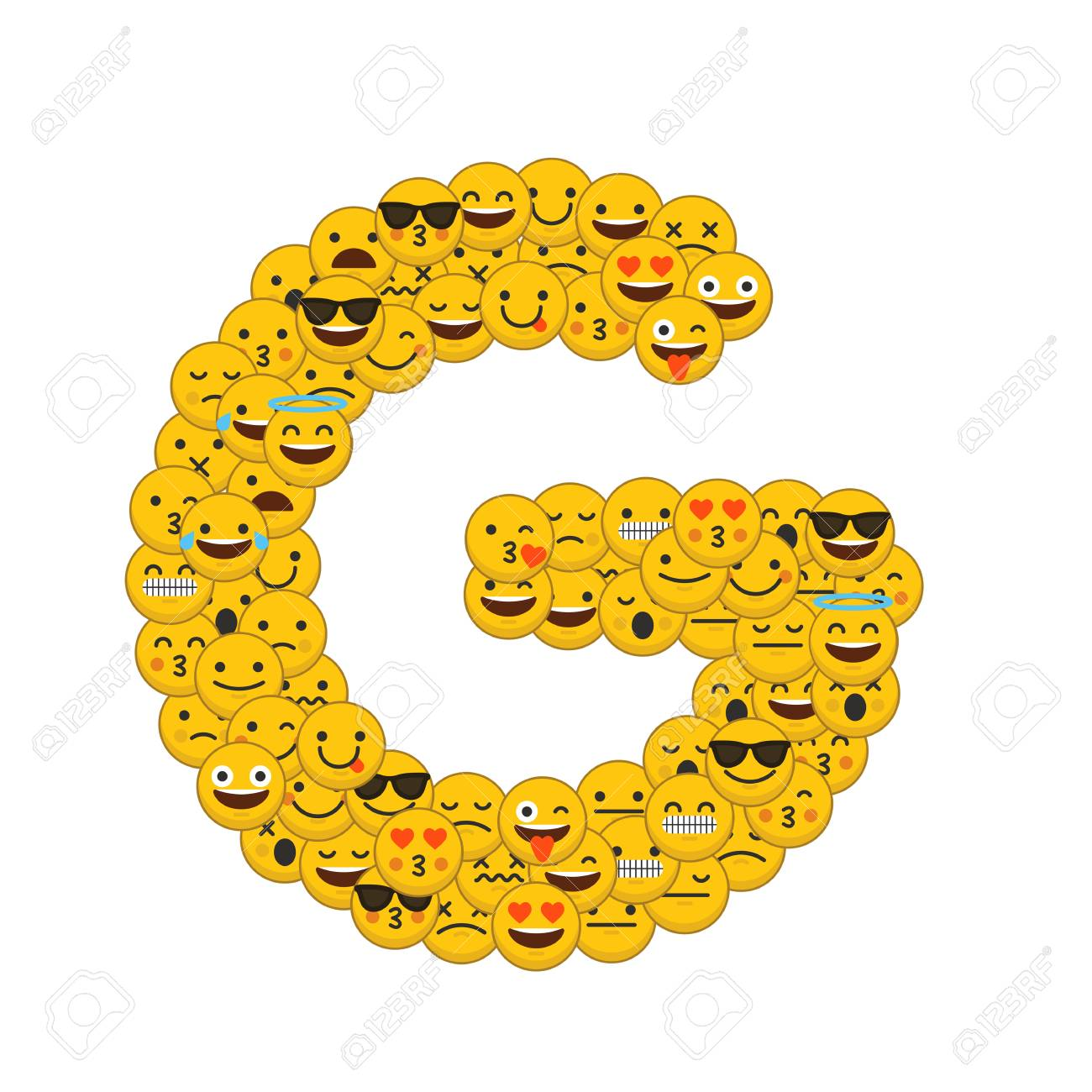 emoji smiley characters capital letter g stock photo 93223164