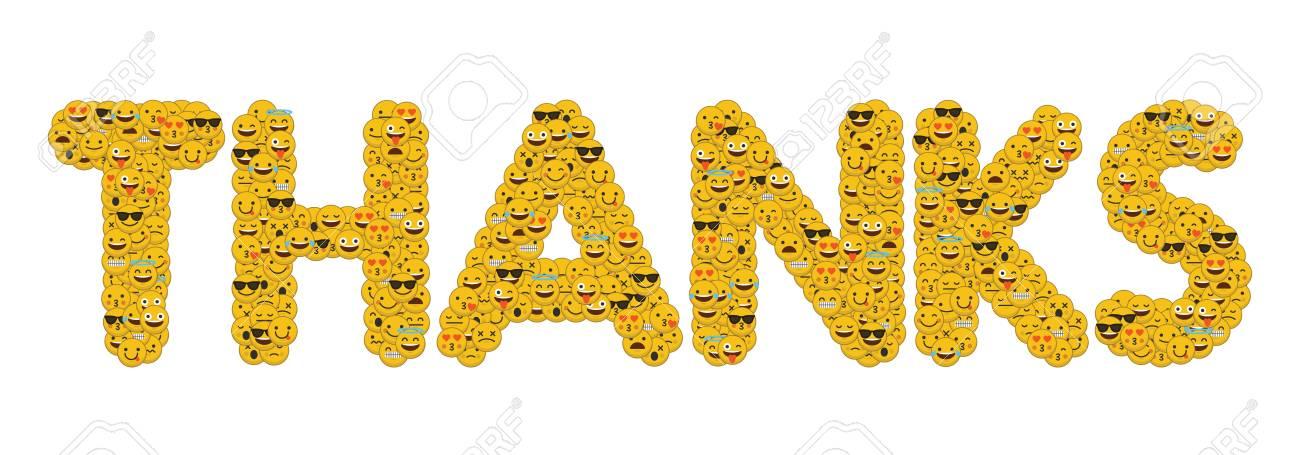 Le Mot Merci écrit Dans Les Médias Sociaux Personnages Smiley Emoji Banque  D'Images Et Photos Libres De Droits. Image 93223270.