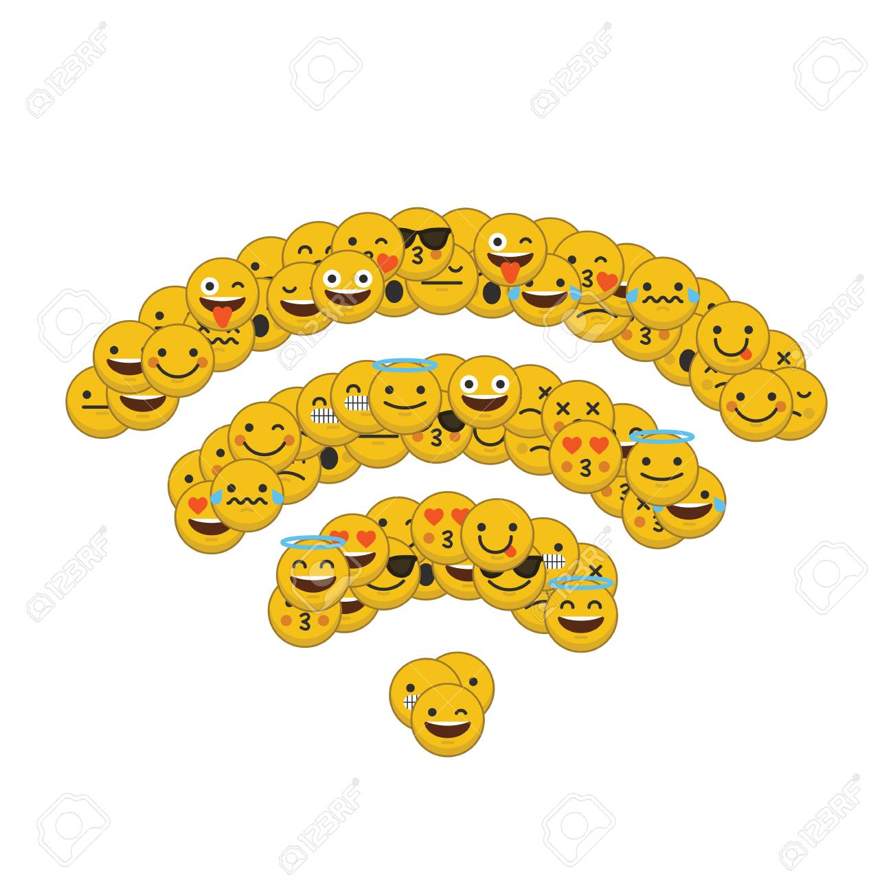 Set of emoji emoticon character faces in a wireless internet