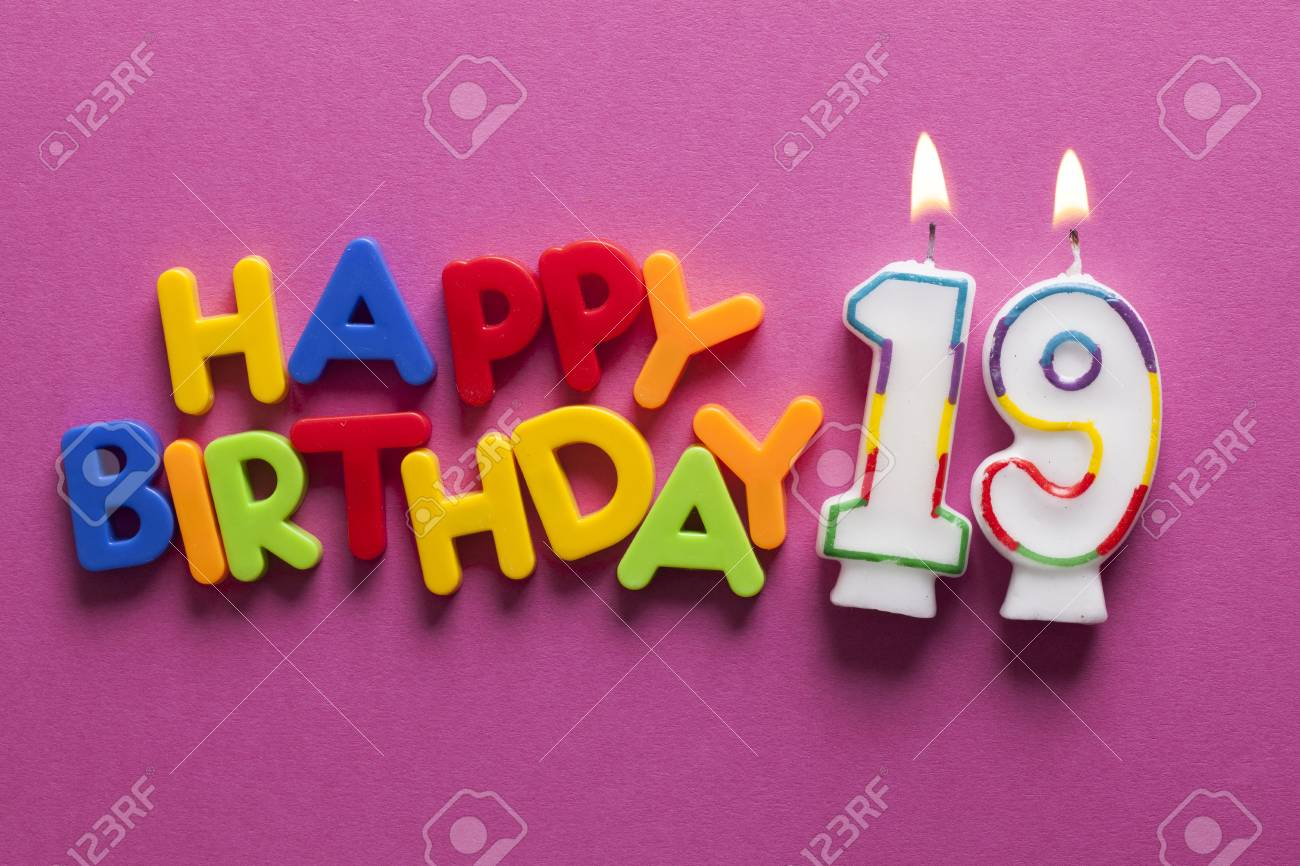 Number 19 Happy Birthday Celebration Candle Stock Photo