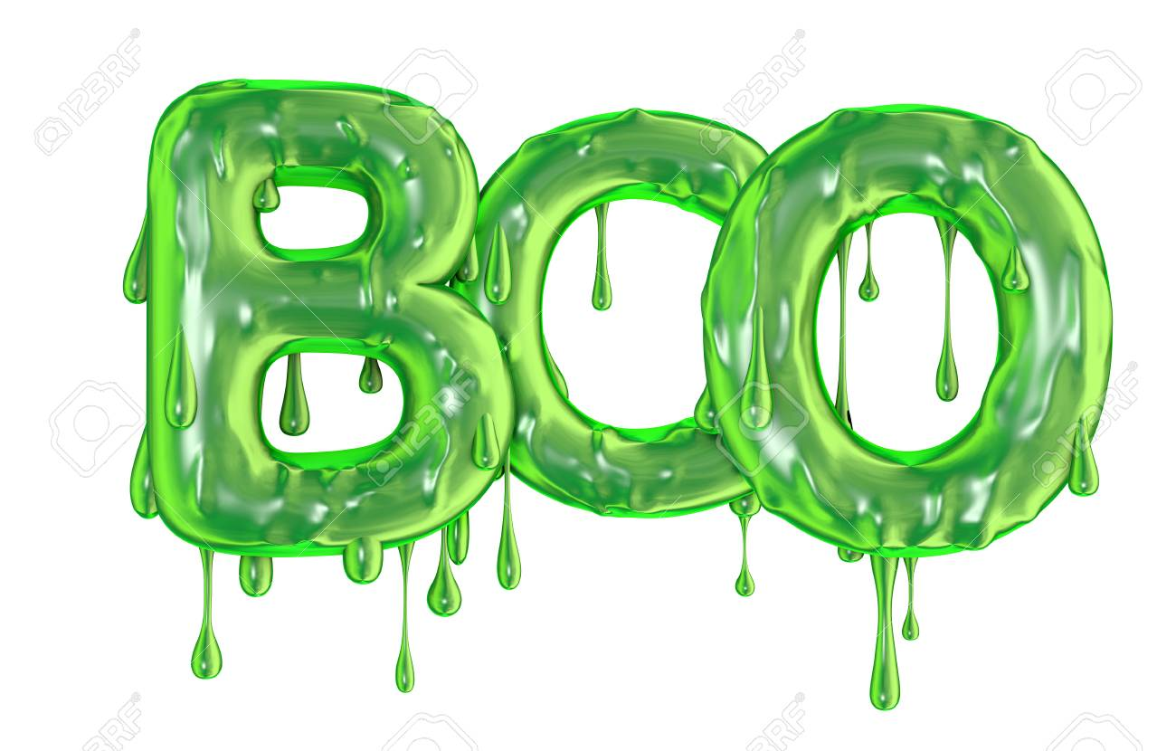 Boo word made from green dripping slime halloween letters Stock Photo - 92951613