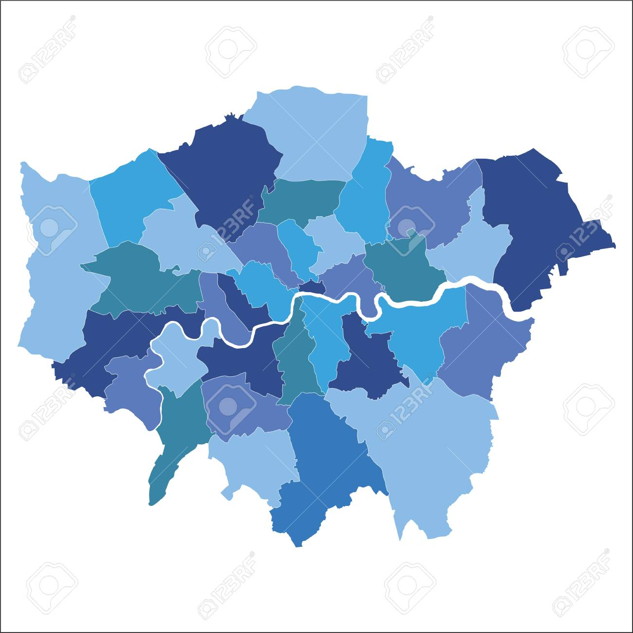 Greater London map showing all boroughs - 92940605