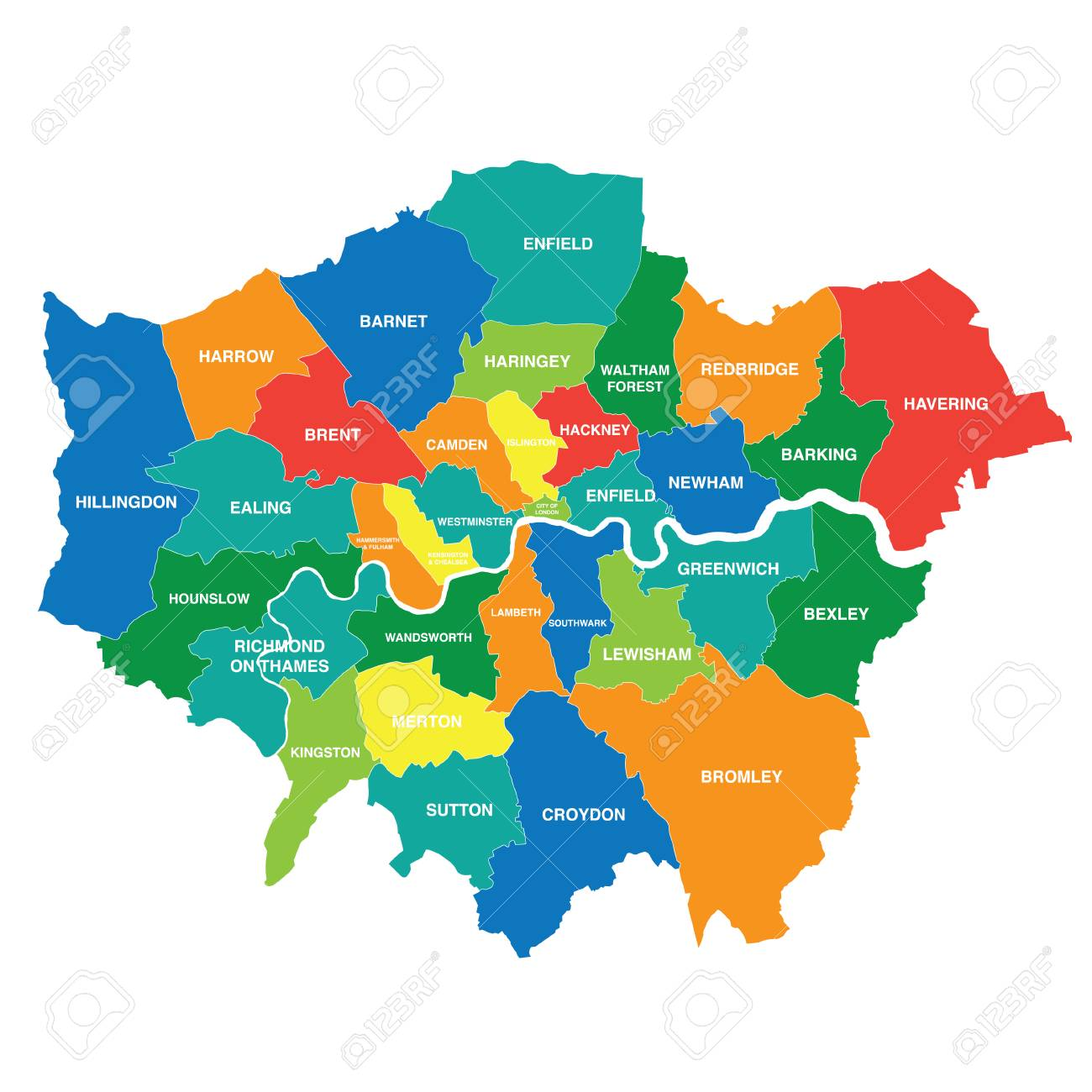 Greater London Map Showing All Boroughs Royalty Free Cliparts