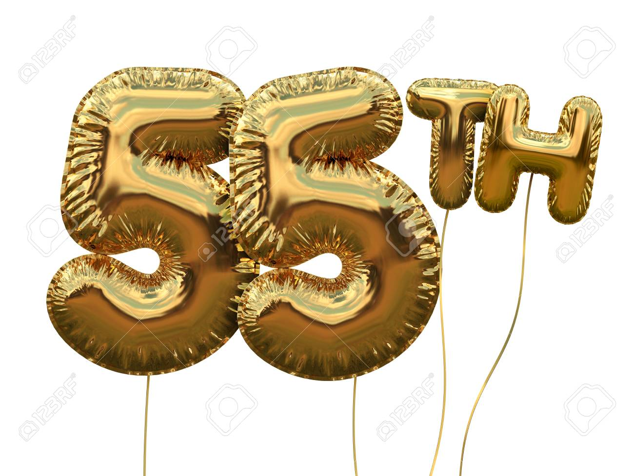 Gold Number 55 Foil Birthday Balloon Isolated On White Golden Party Celebration 3D Rendering