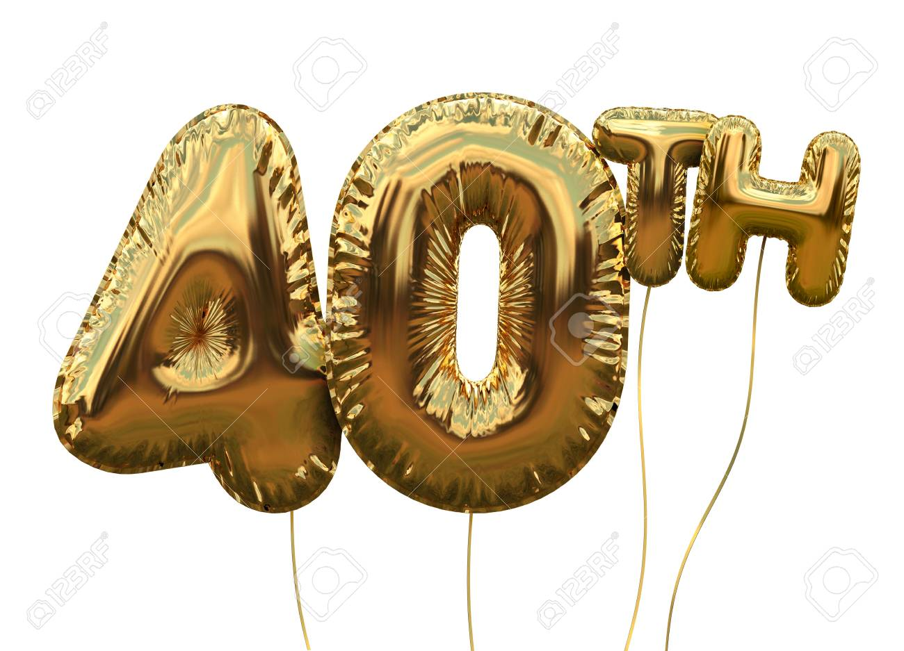 Gold number 40 foil birthday balloon isolated on white. Golden party celebration. 3D Rendering - 93223759