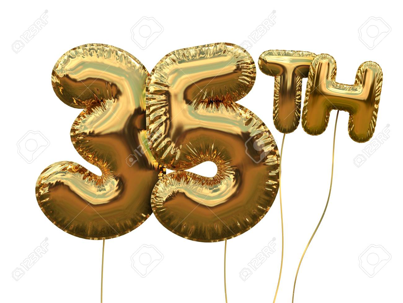 Gold Number 35 Foil Birthday Balloon Isolated On White Golden Party Celebration 3D Rendering