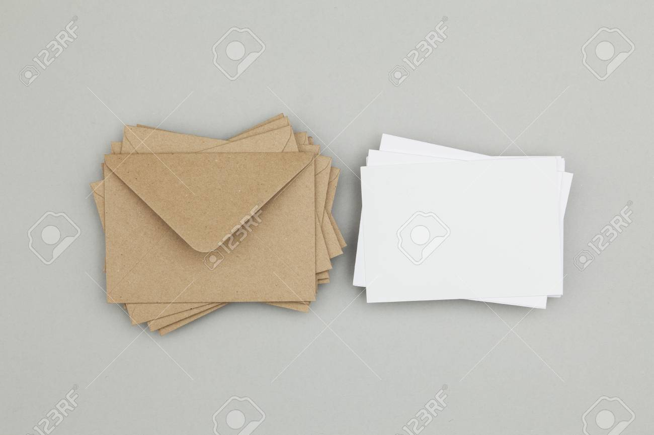blank white card with kraft brown paper envelope template mock