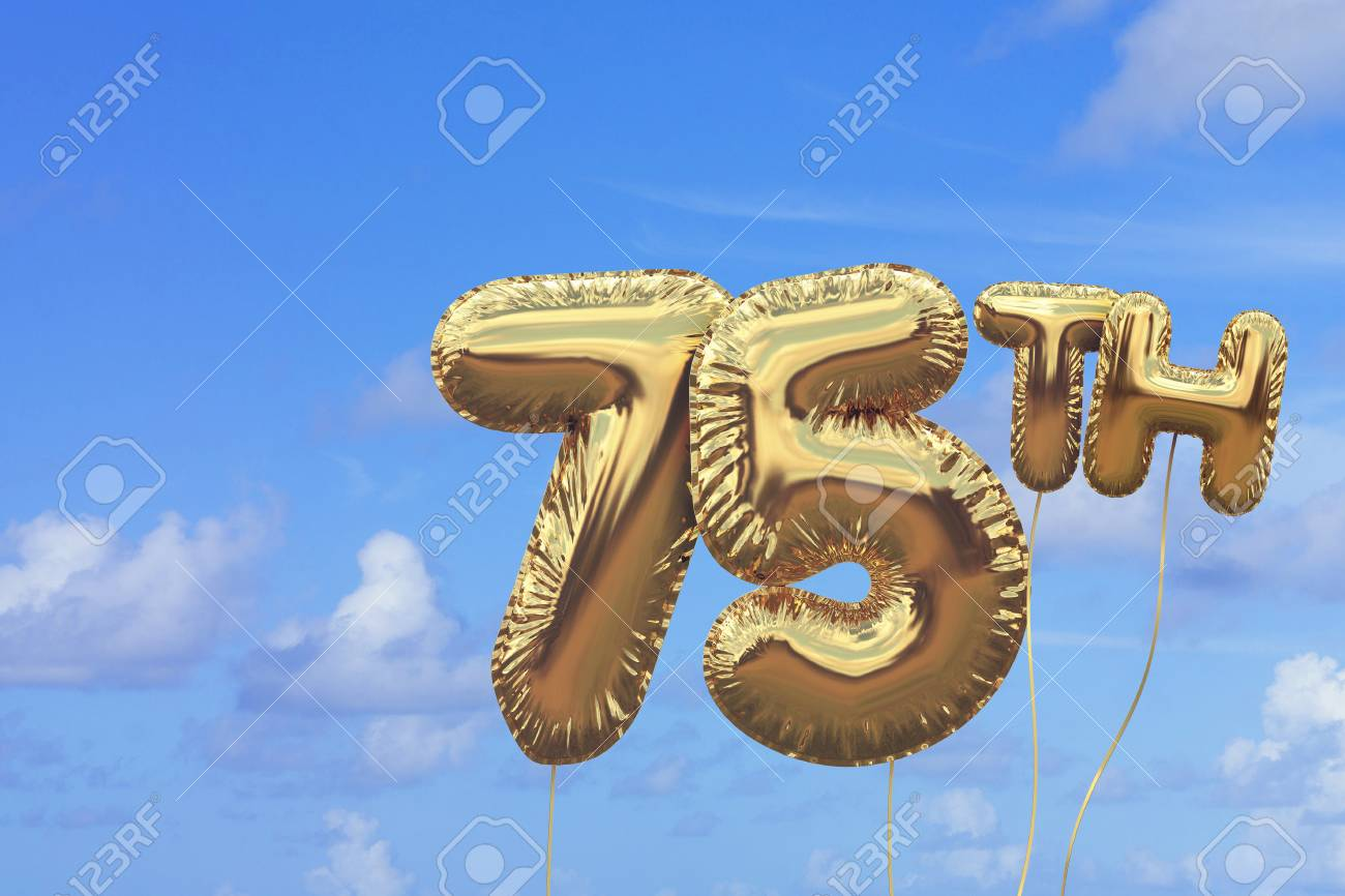 Gold Number 75 Foil Birthday Balloon Against A Bright Blue Summer Sky Golden Party Celebration