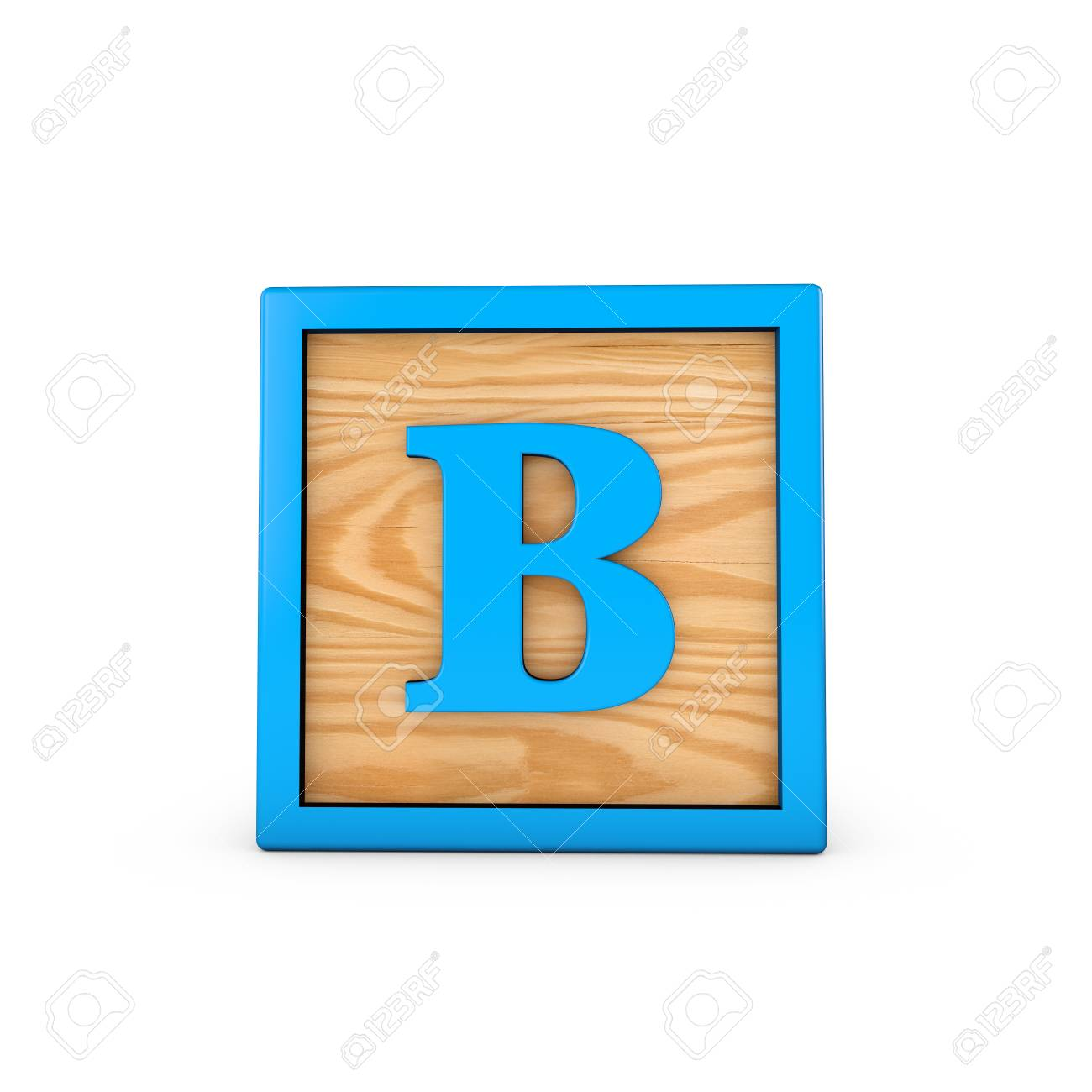Letter B wodden childrens toy alphabet block  3D Rendering