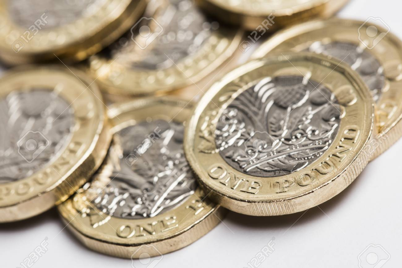 British sterling one pound coin currency - 93639570