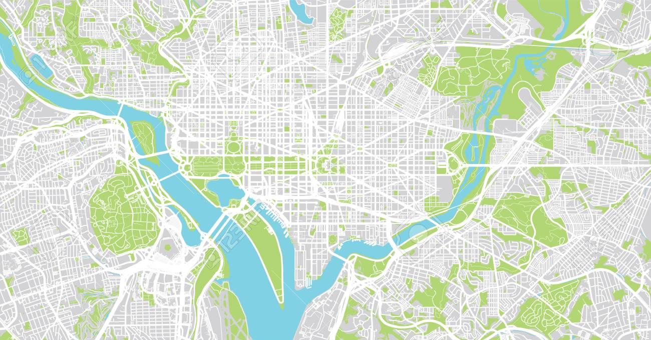 Urban vector city map of Washington D.C, USA - 93633814