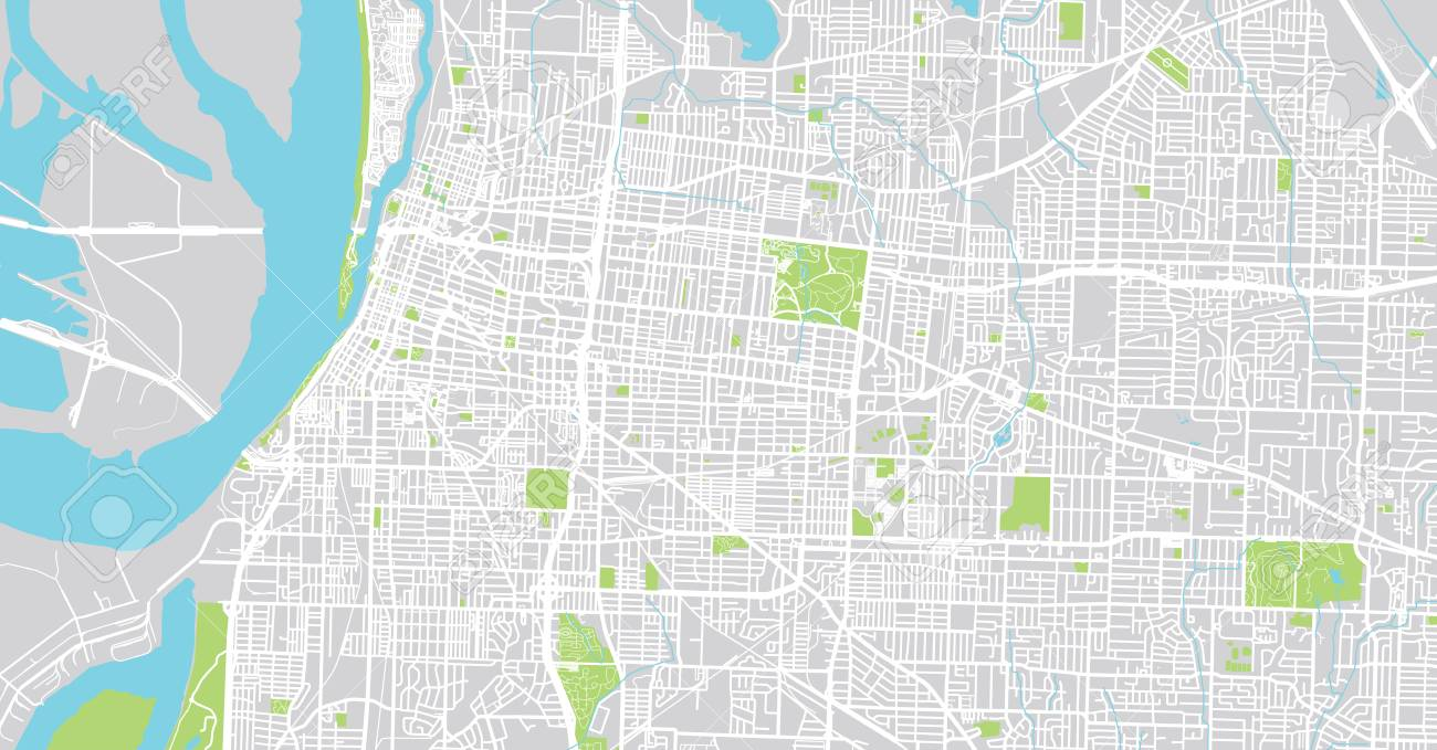Urban Vector City Map Of Memphis Tennessee Usa Stock Photo