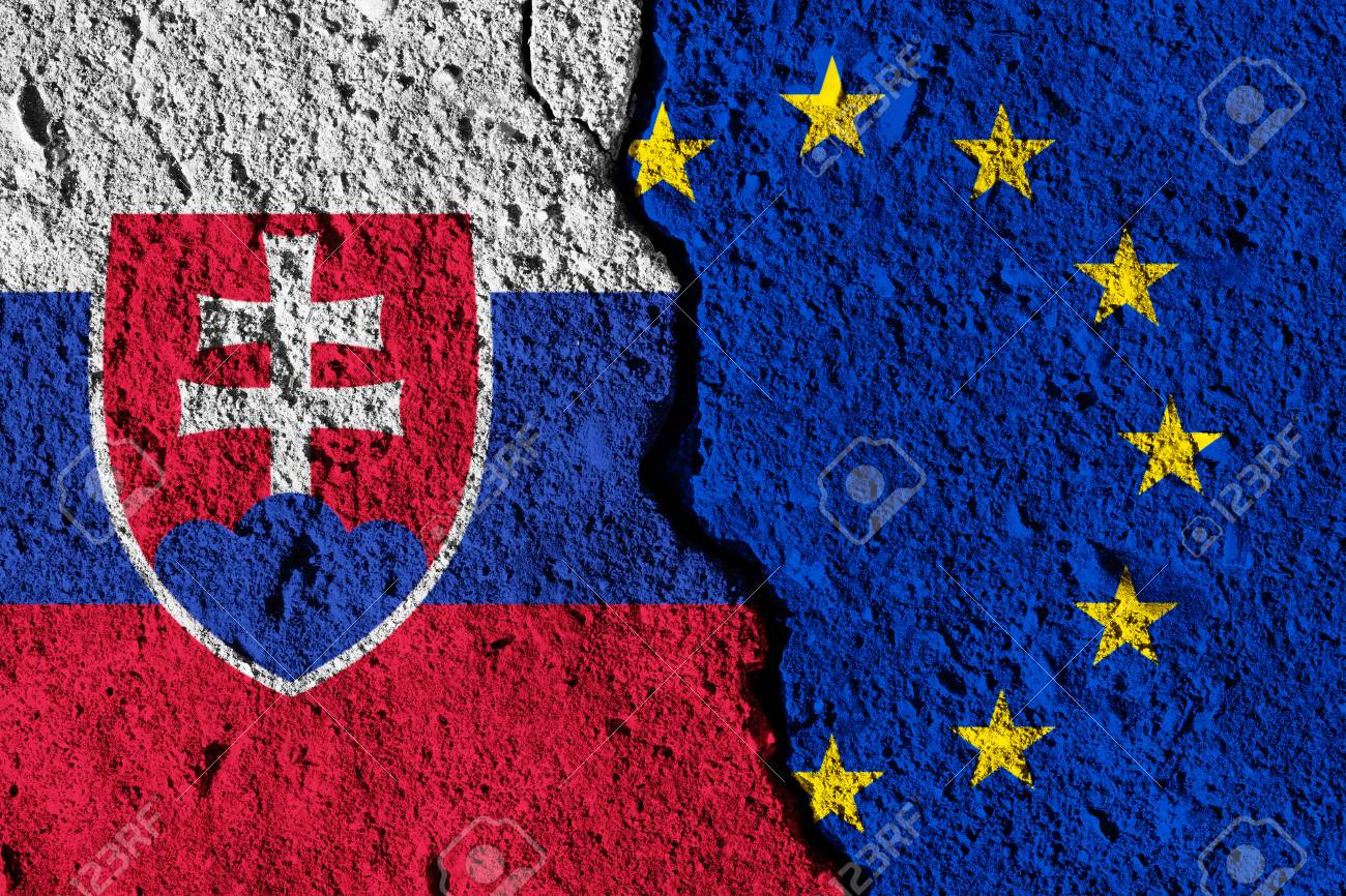 e2c44bcc87 Crack between European union and Slovakia flags. political relationship  concept Stock Photo - 93925580