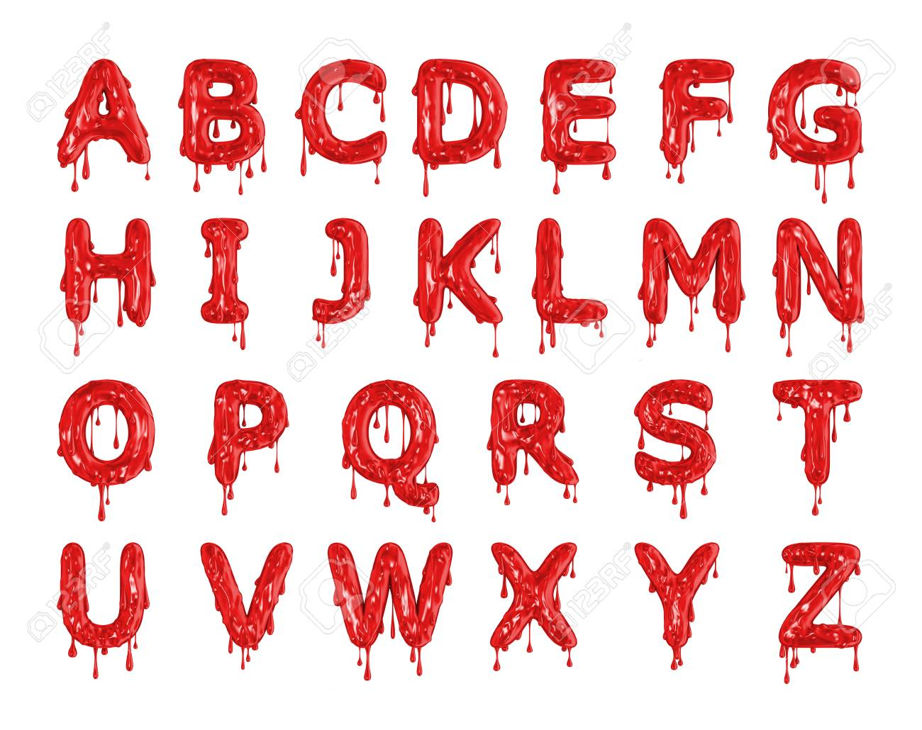 Red dripping blood halloween alphabet letters. 3D Rendering Stock Photo - 93891131