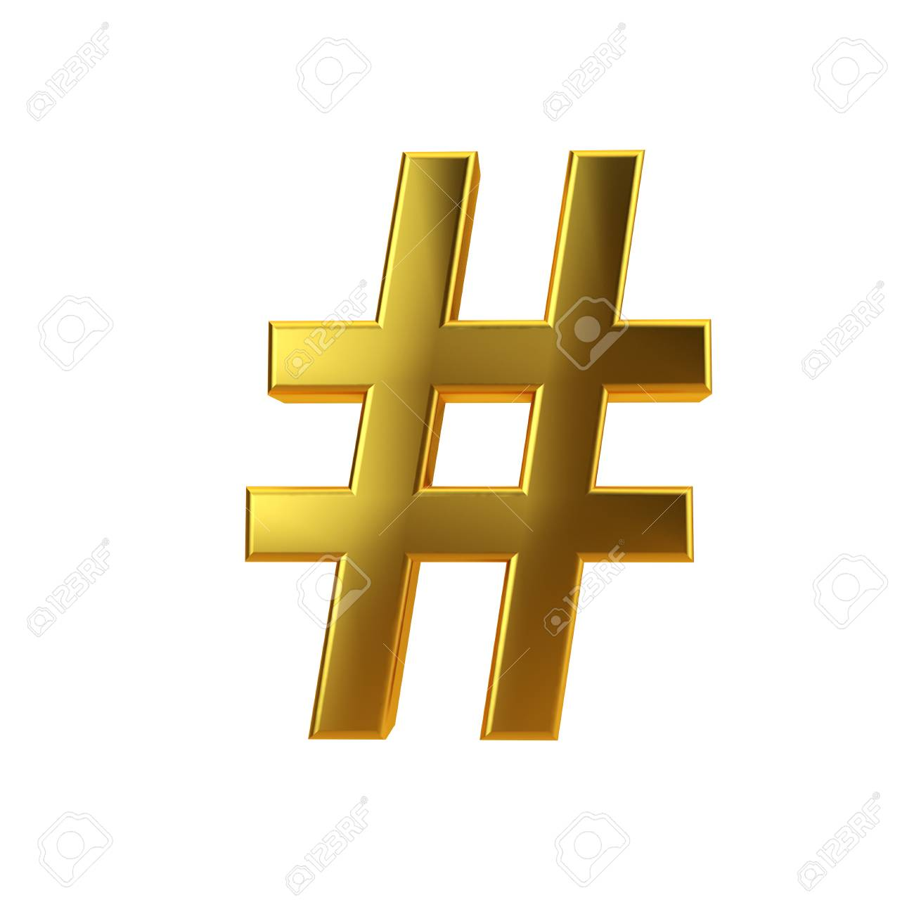 Shiny Gold Hashtag Symbol On A Plain White Background 3d Rendering