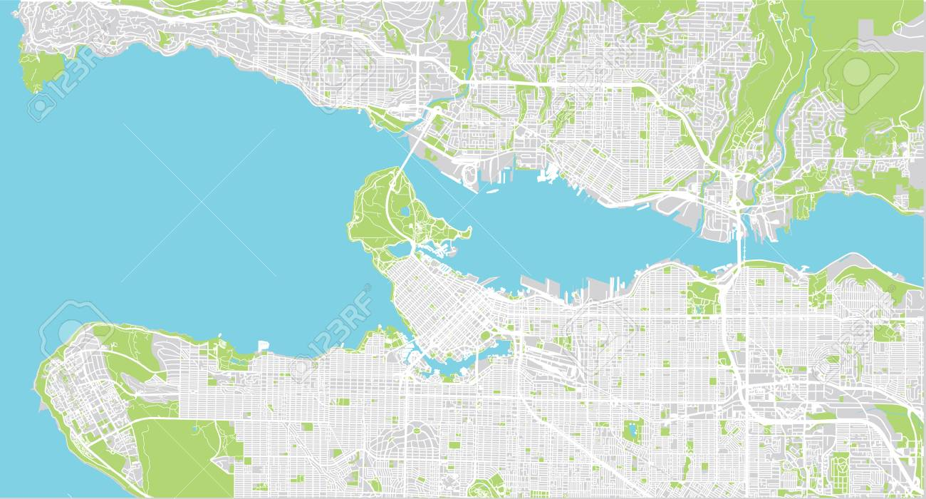 Map Of Canada Showing Vancouver.Urban Vector City Map Of Vancouver Canada