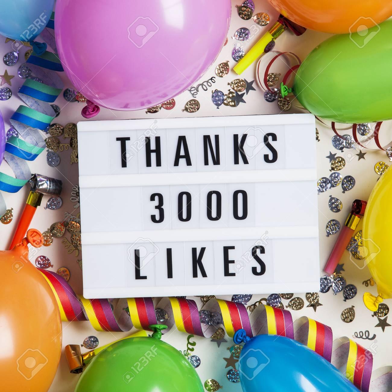 Thanks 3 thousand likes social media lightbox background. Celebration of followers, subscribers, likes. - 96030579