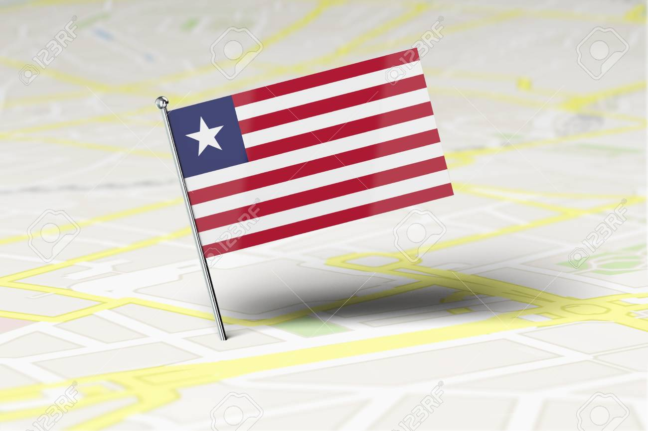 Liberia national flag location pin stuck into a city road map...