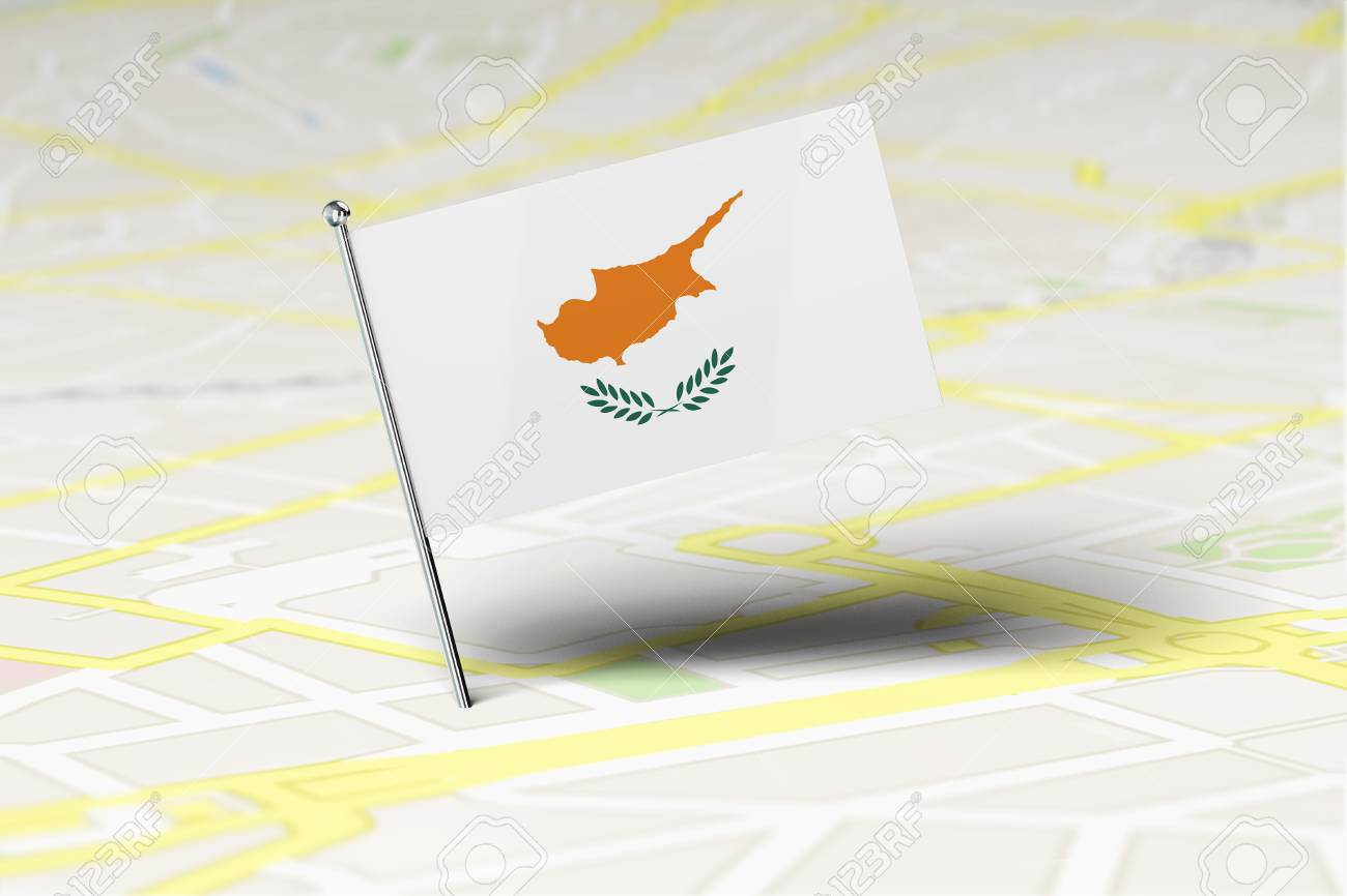 Cyprus National Flag Location Pin Stuck Into A City Road Map