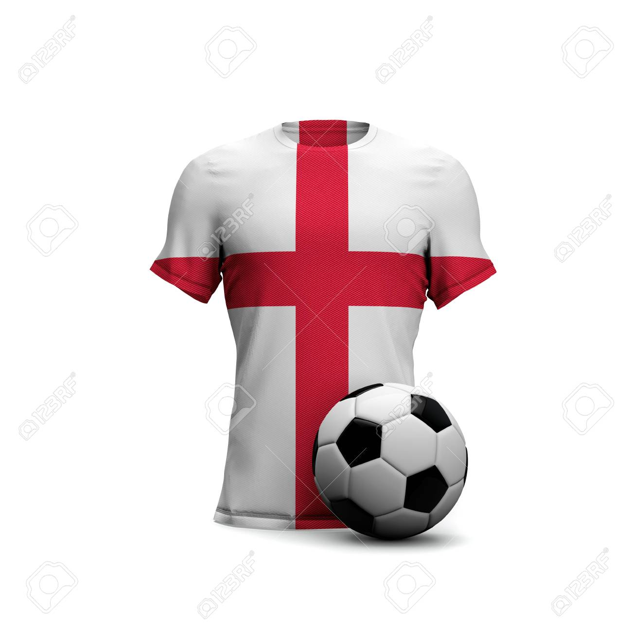 fc8c6a3f9 England soccer shirt with national flag and football ball. 3D Rendering  Stock Photo - 99961744