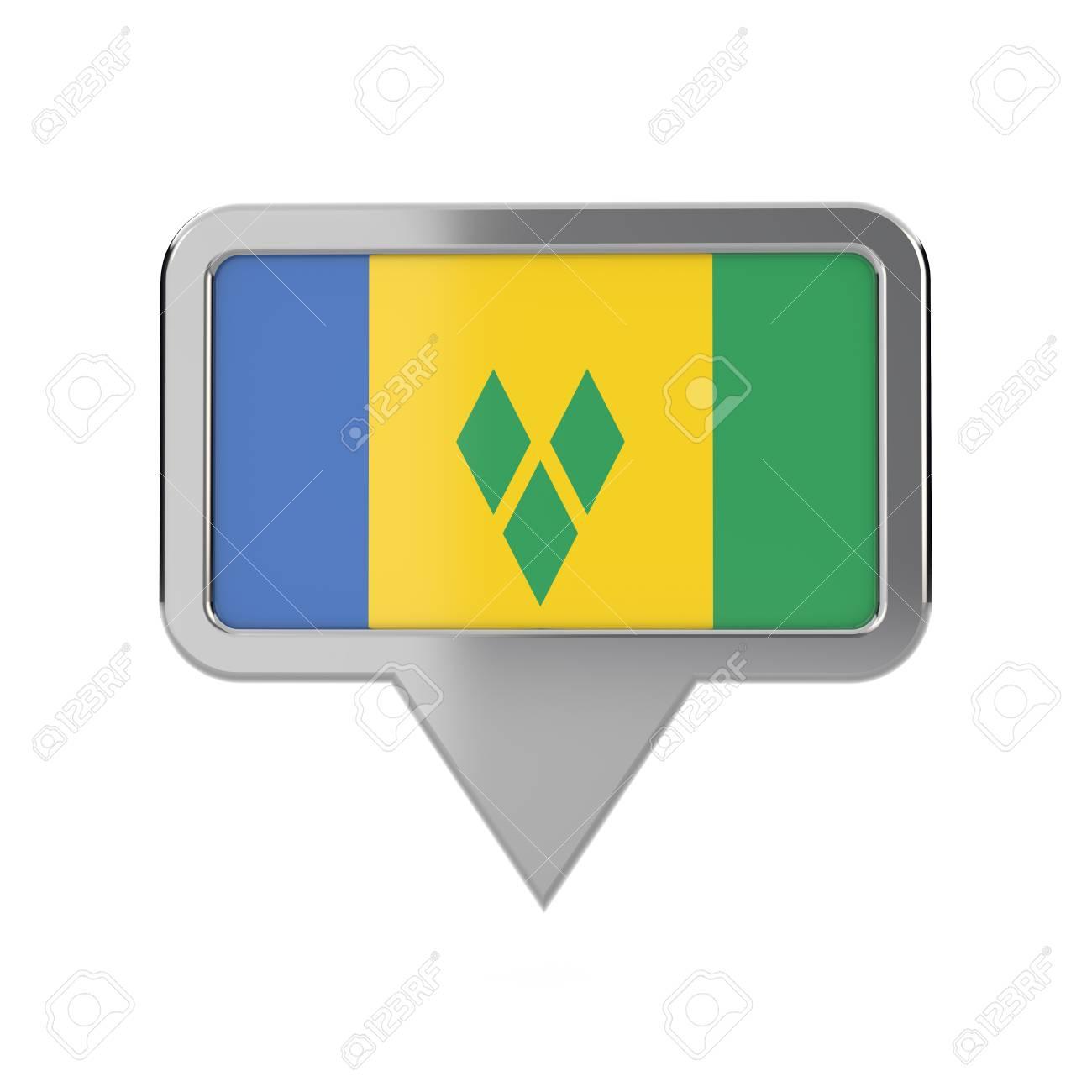 St Vincent flag location marker icon  3D Rendering
