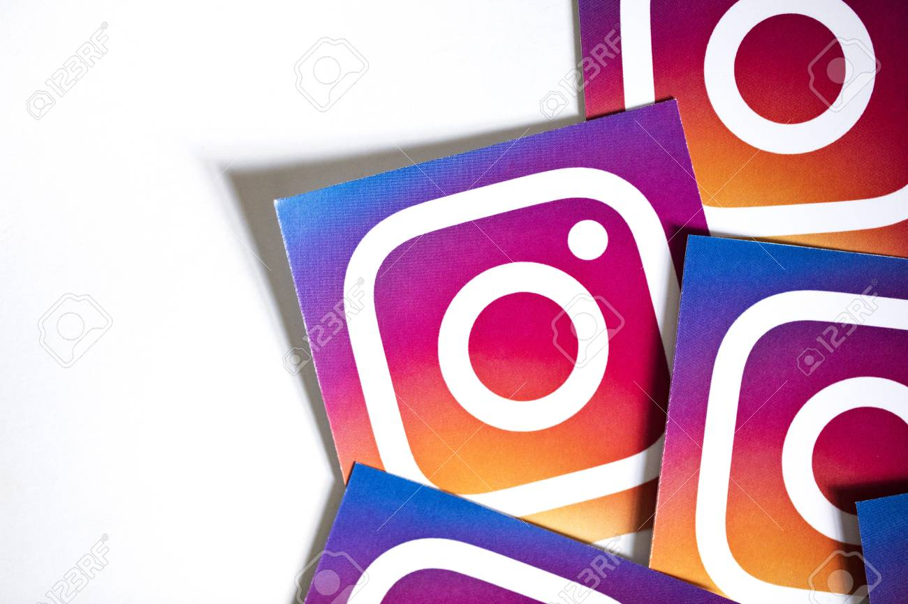 OXFORD, UK - NOVEMBER 17th 2016: A collection of Instagram logos printed onto paper. Instagram is a popular social media application for sharing images and videos - 101946899