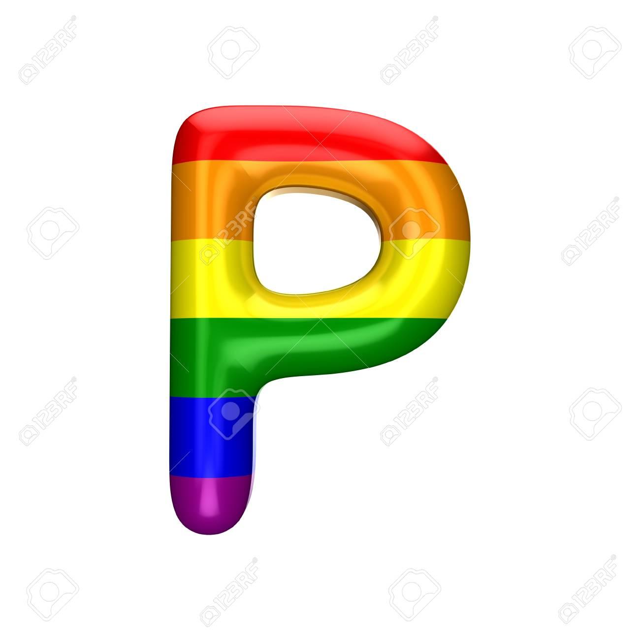 Letter P Gay Pride Rainbow Fla...