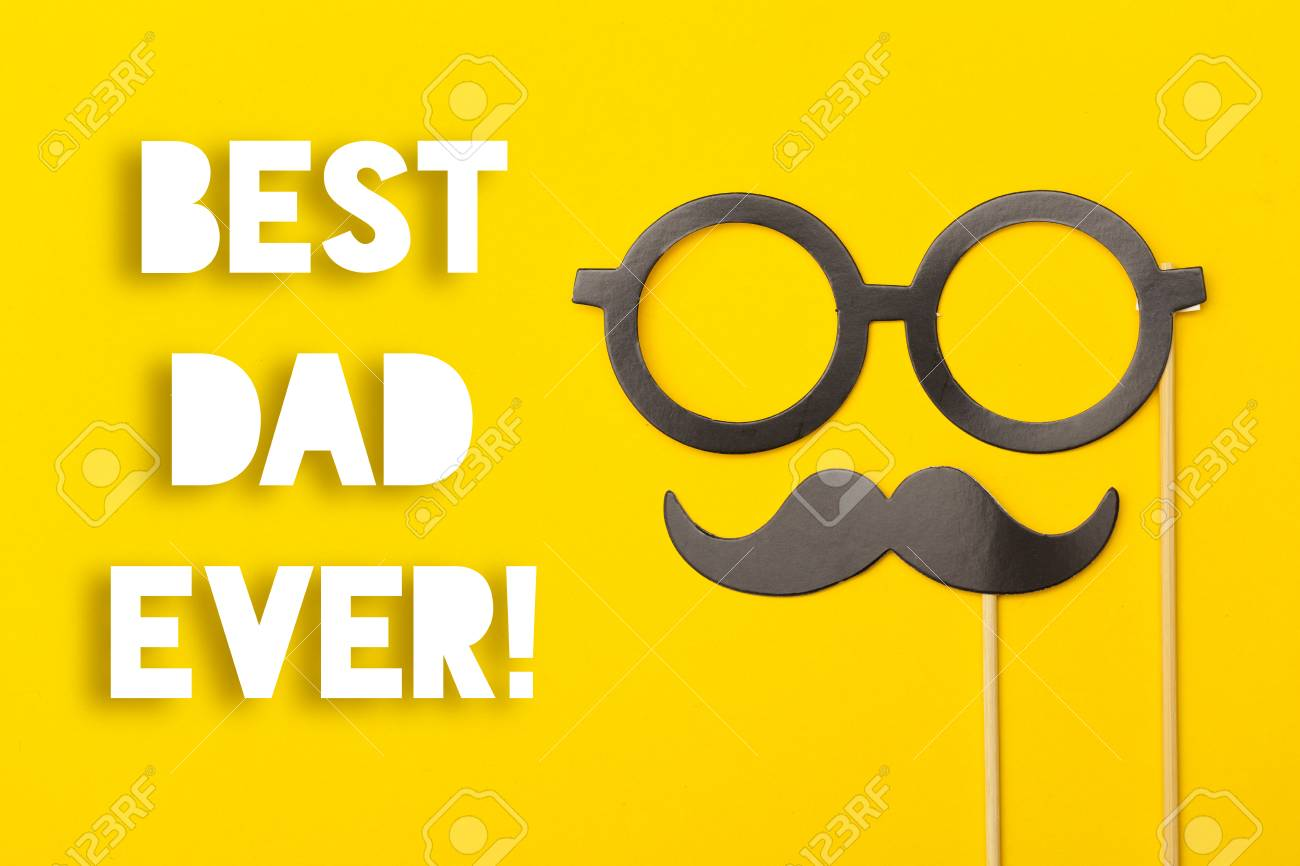 Fathers day greeting card message with mustache on a yellow stock fathers day greeting card message with mustache on a yellow background stock photo 102599966 m4hsunfo