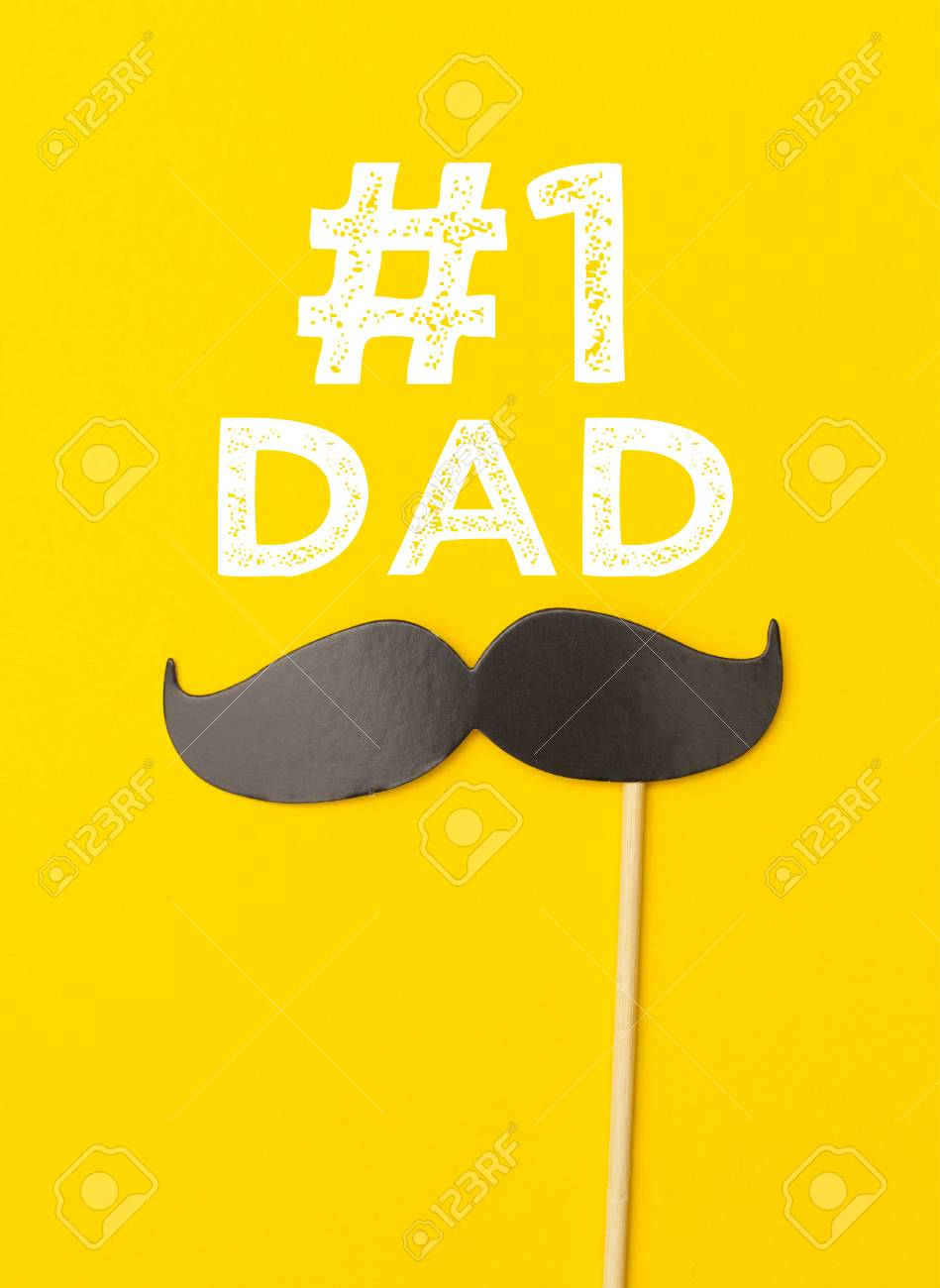 Fathers Day Greeting Card Message With Mustache On A Yellow Stock