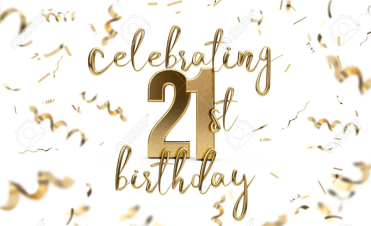 Celebrating 21st Birthday Gold Greeting Card With Confetti 3D Rendering Stock Photo