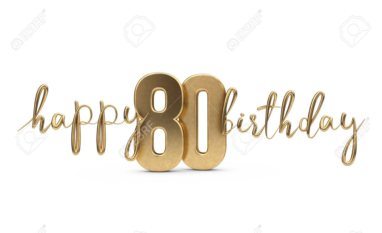 Happy 80th birthday gold greeting background. 3D Rendering - 103838952