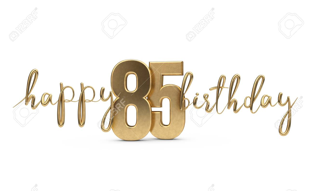 Happy 85th Birthday Gold Greeting Background 3D Rendering Stock Photo