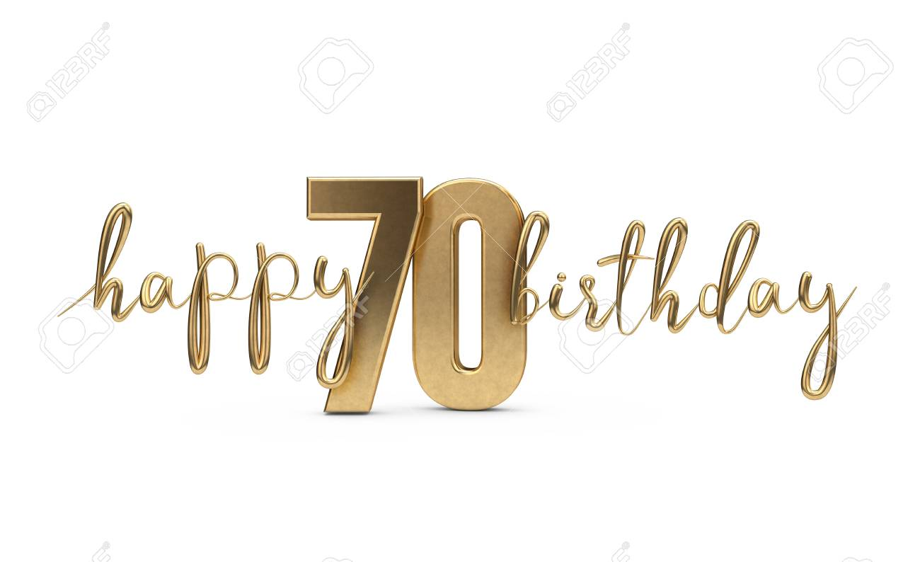 Happy 70th Birthday Gold Greeting Background 3D Rendering Stock