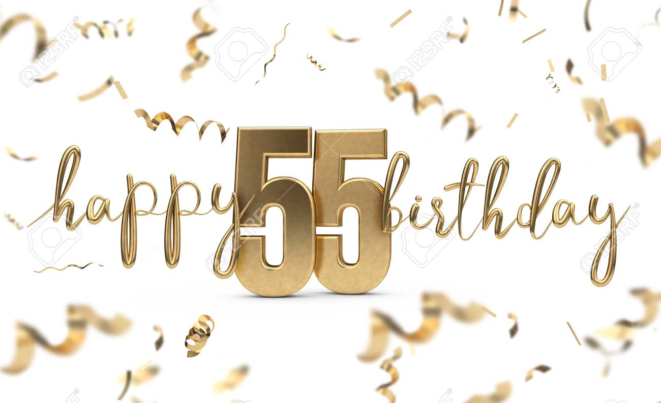 Happy 55th Birthday Gold Greeting Background 3D Rendering Stock Photo