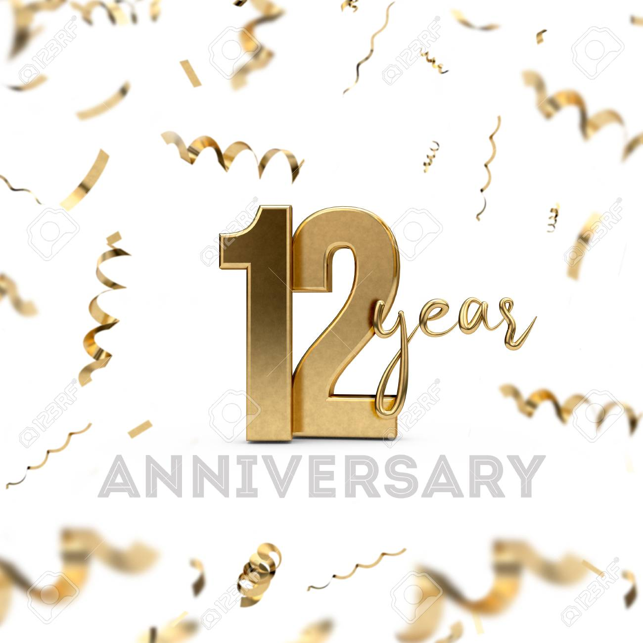 12 Year Anniversary Celebration Gold Number With Golden Confetti Stock Photo Picture And Royalty Free Image Image 103815782