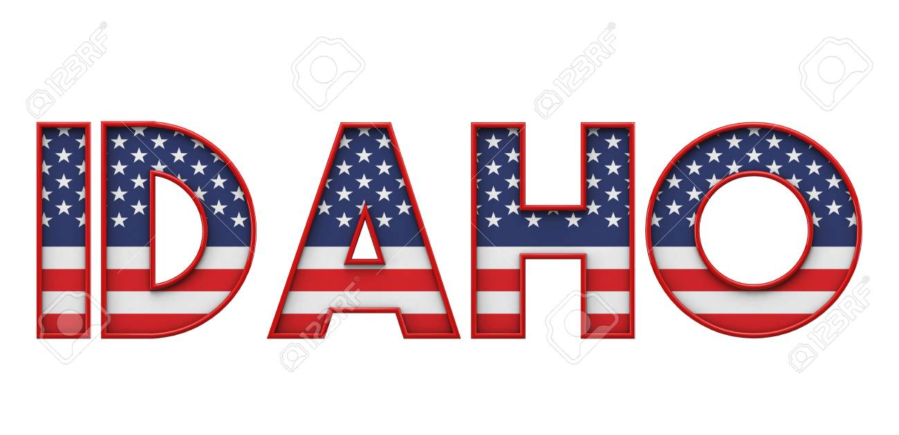 Idaho USA state made from starts and stripes lettering  3D Rendering