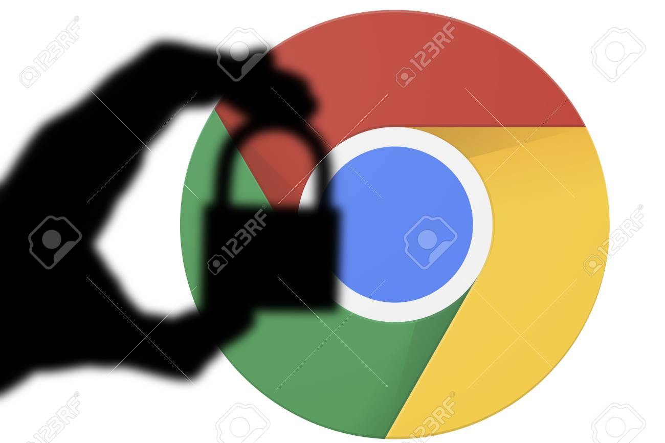 LONDON, UK - JULY 6th 2018: Google Chrome security issues  Silhouette