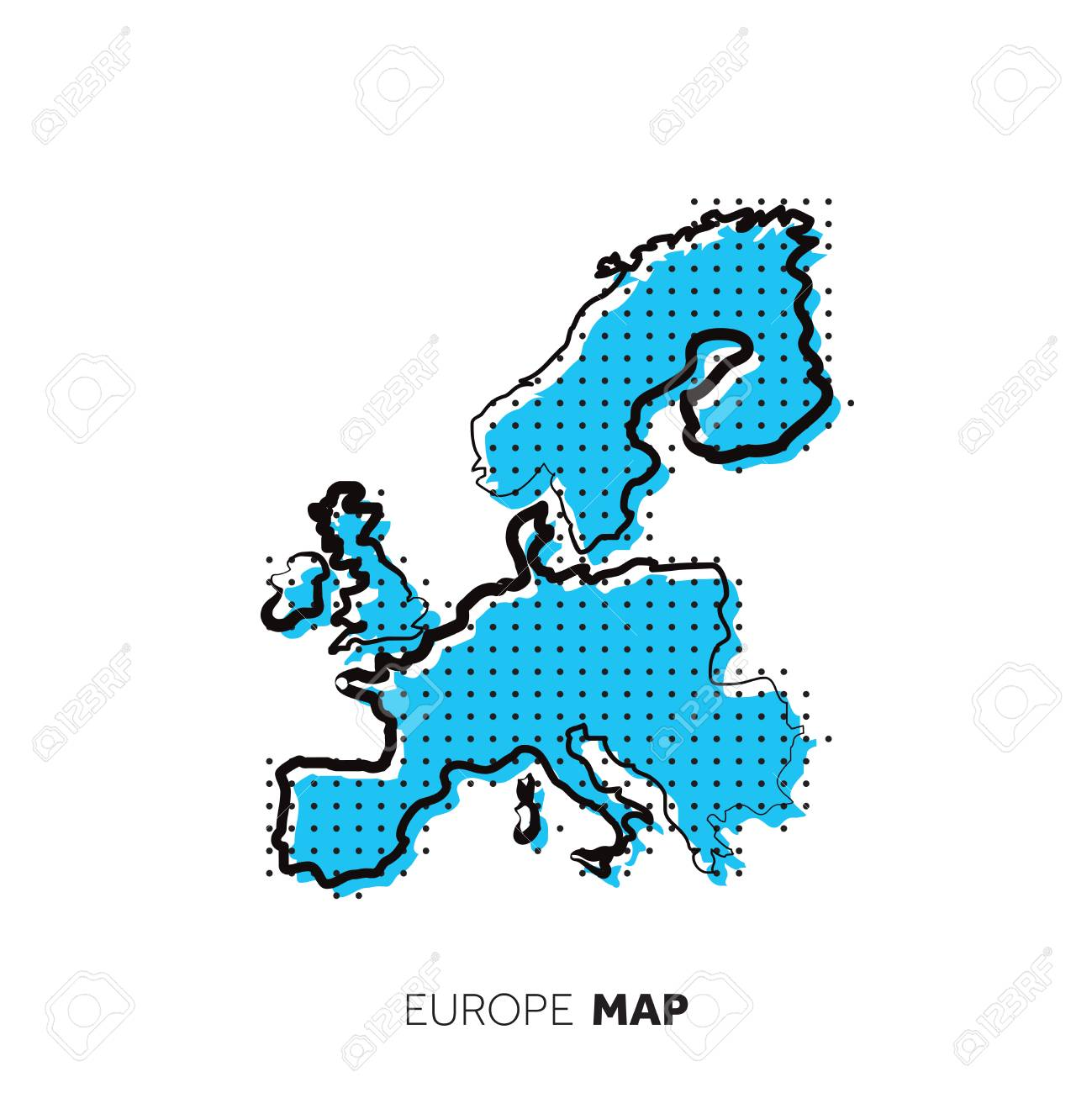 Picture of: Europe Vector Country Map Map Outline With Dots Royalty Free Cliparts Vectors And Stock Illustration Image 114989462