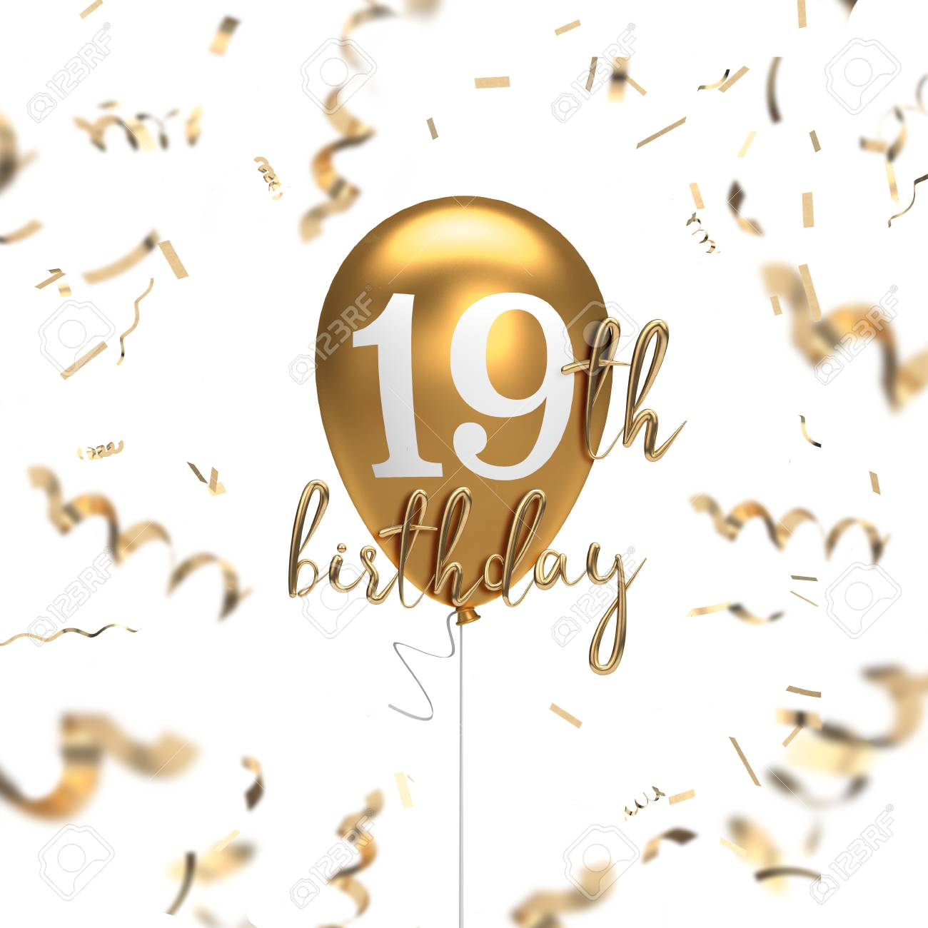 Happy 19th Birthday Gold Balloon Greeting Background 3D Rendering Stock Photo