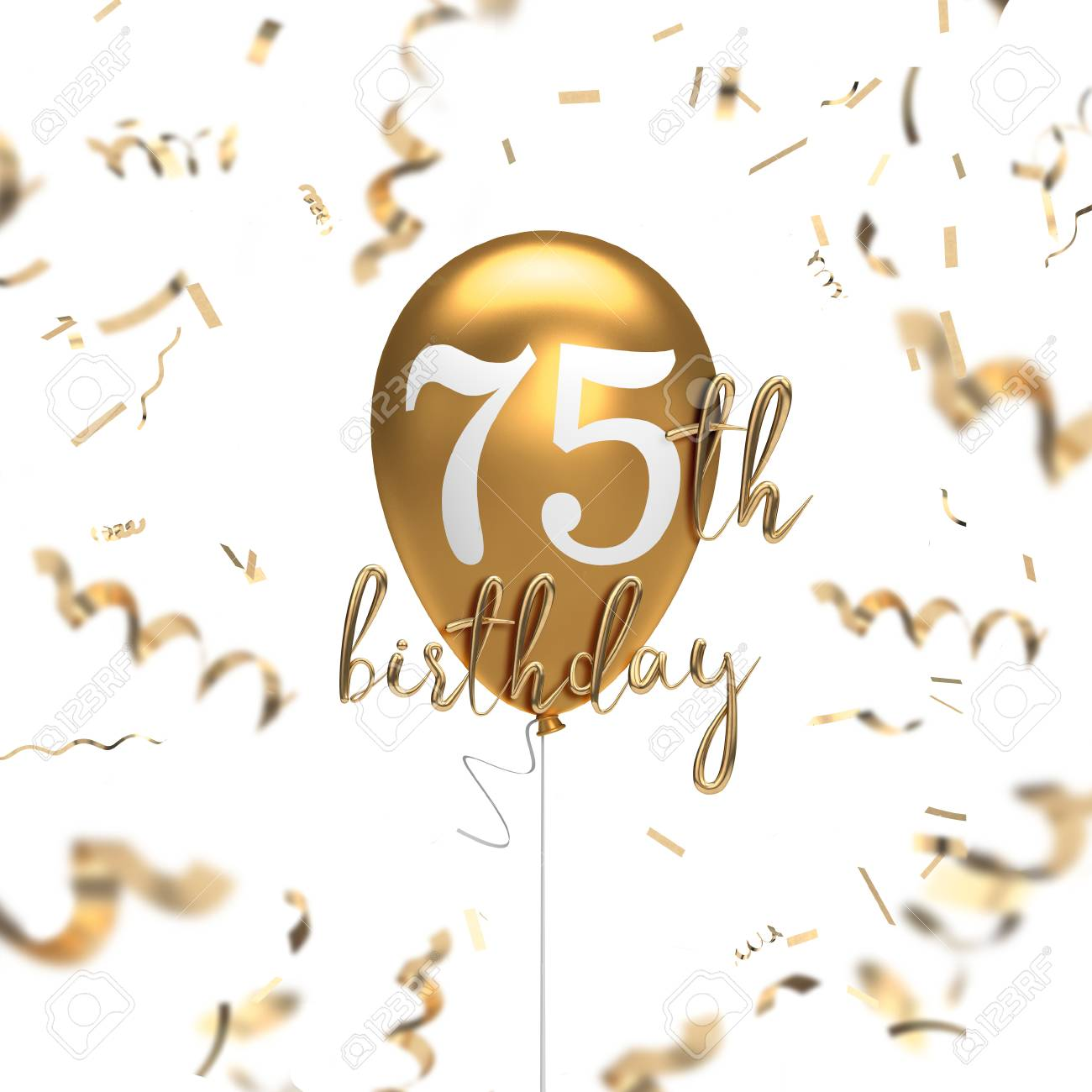 Happy 75th Birthday Gold Balloon Greeting Background 3D Rendering Stock Photo