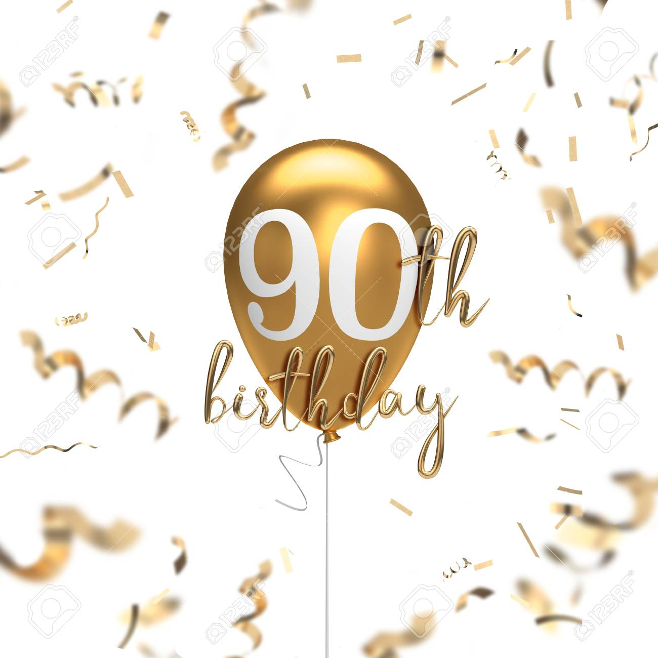 Happy 90th Birthday Gold Balloon Greeting Background 3D Rendering Stock Photo