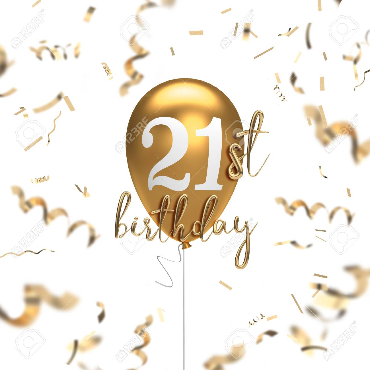 Happy 21st Birthday Images.Happy 21st Birthday Gold Balloon Greeting Background 3d Rendering