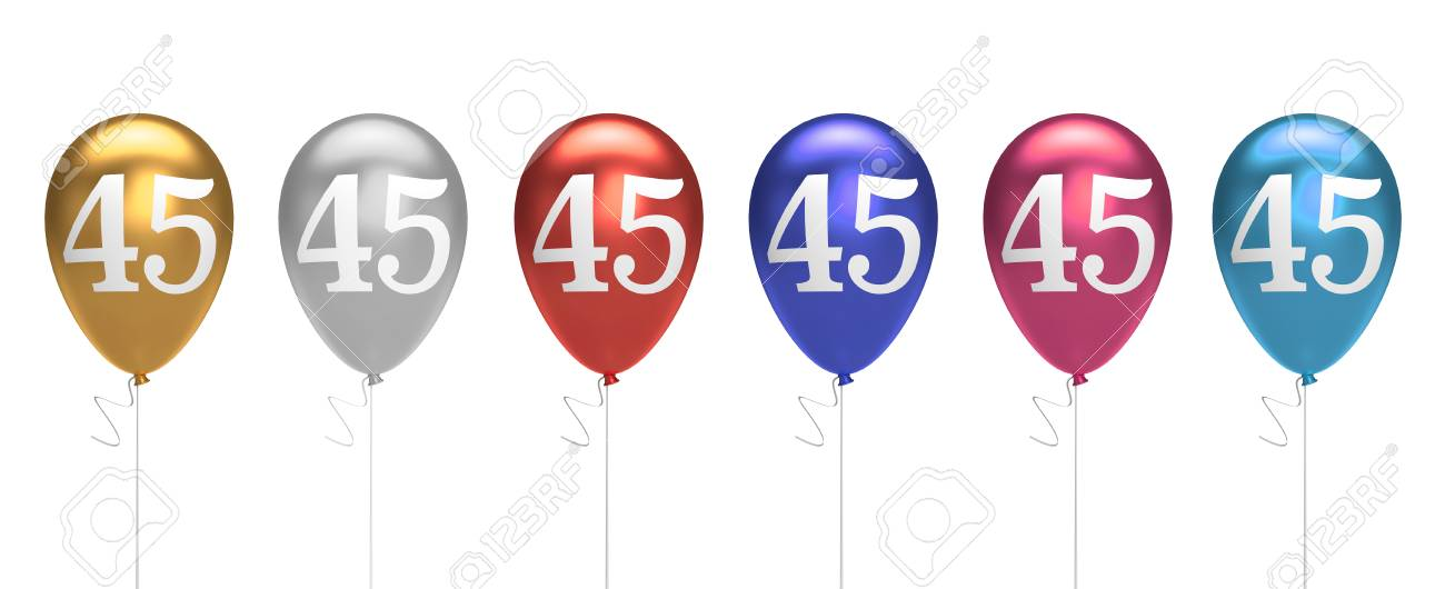 Number 45 Birthday Balloons Collection Gold Silver Red Blue Pink 3D