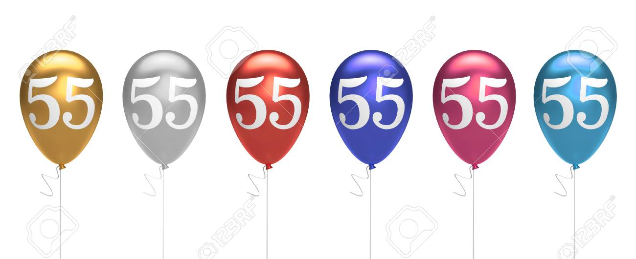 Number 55 Birthday Balloons Collection Gold Silver Red Blue Pink 3D