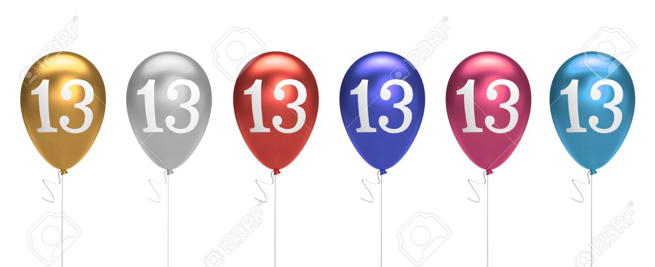 Number 13 Birthday Balloons Collection Gold Silver Red Blue Pink 3D