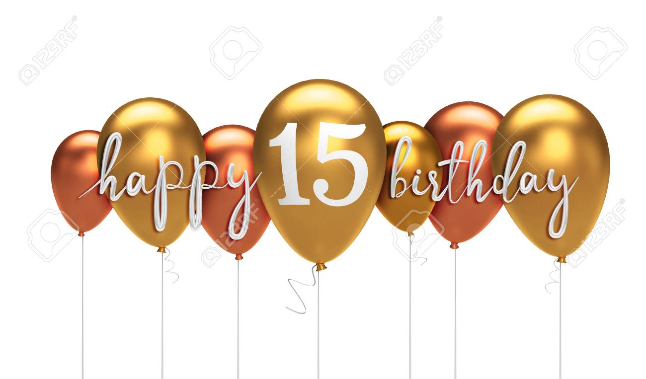 Happy 15th Birthday Gold Balloon Greeting Background 3D Rendering Stock Photo