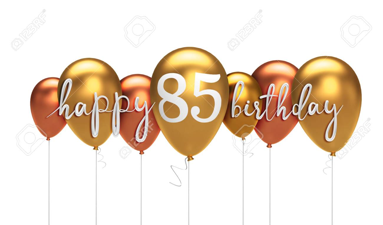 Happy 85th Birthday Gold Balloon Greeting Background 3D Rendering Stock Photo