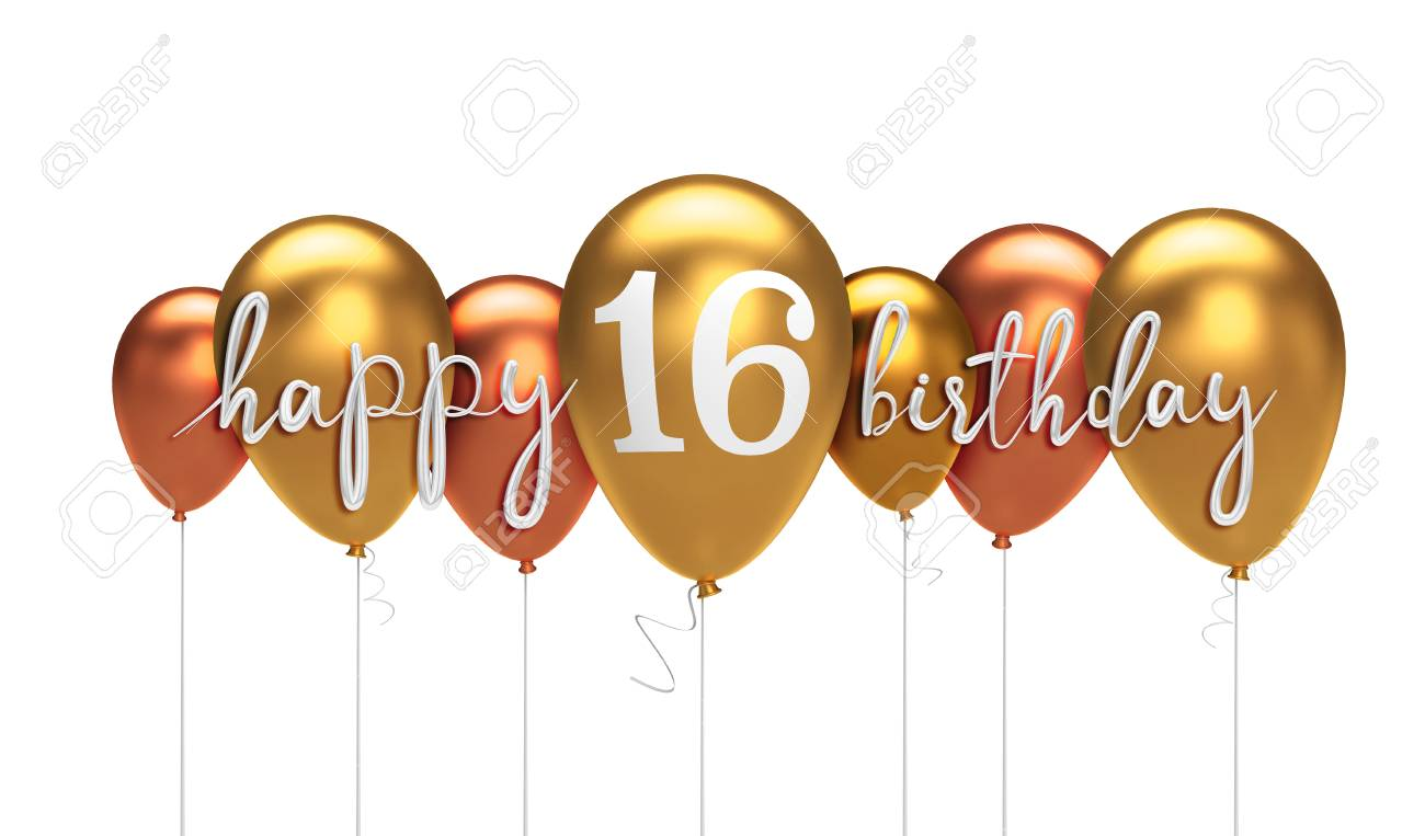Happy 16th Birthday Gold Balloon Greeting Background 3D Rendering Stock Photo